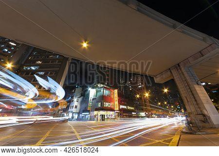 Hong Kong, China - July 06, 2021 : Night Scenery Of Mongkok District In Hong Kong, China. Mongkok In