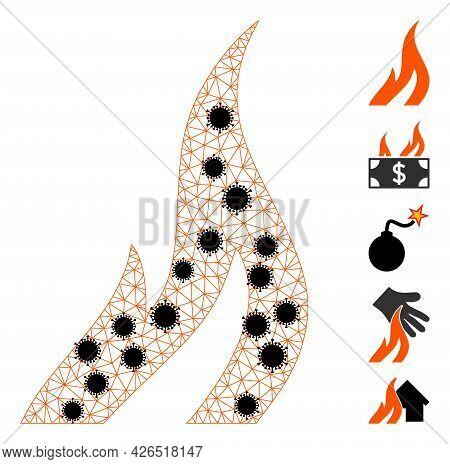 Mesh Fire Polygonal Symbol Vector Illustration, With Black Coronavirus Nodes. Carcass Model Is Based