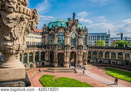 17 May 2019 Dresden, Germany - View Of The Glockenspielpavillon Carillon Pavilion In The Zwinger,clo
