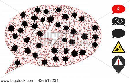 Mesh Emergency Message Polygonal 2d Vector Illustration, With Black Infection Nodes. Carcass Model I