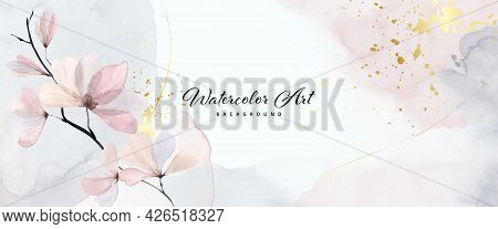 Abstract Art Watercolor Gentle Flower And Gold Splash For Nature Banner Background. Watercolor Art D