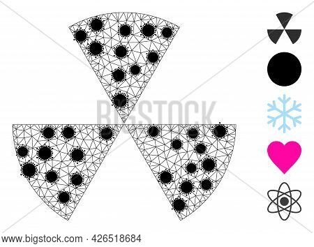 Mesh Circle Sectors Polygonal Icon Vector Illustration, With Black Covid Centers. Abstraction Is Cre