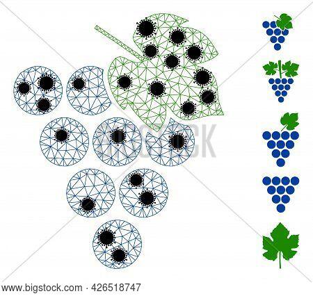 Mesh Grape Bunch Polygonal Icon Vector Illustration, With Black Coronavirus Elements. Carcass Model