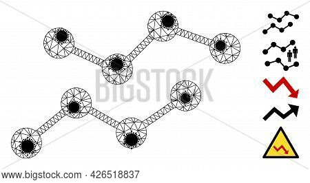 Mesh Charts Polygonal Icon Vector Illustration, With Black Virus Nodes. Model Is Created From Charts