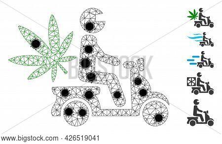 Mesh Marijuana Motorbike Delivery Polygonal Icon Vector Illustration, With Black Covid Elements. Car