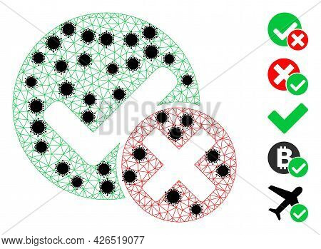 Mesh False Positive Polygonal Icon Vector Illustration, With Black Covid Elements. Carcass Model Is