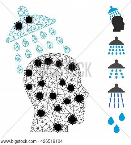 Mesh Head Shower Polygonal Icon Vector Illustration, With Black Covid Elements. Carcass Model Is Bas