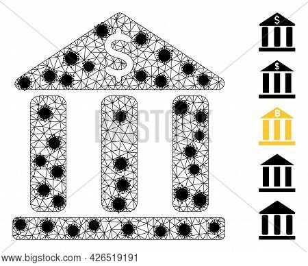 Mesh Bank Building Polygonal Symbol Vector Illustration, With Black Covid Nodes. Carcass Model Is Cr
