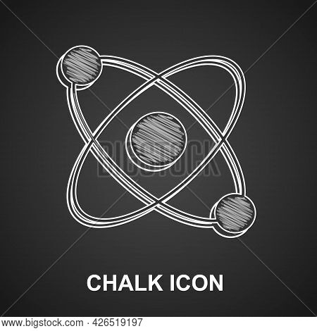 Chalk Atom Icon Isolated On Black Background. Symbol Of Science, Education, Nuclear Physics, Scienti