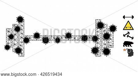 Mesh Barbell Polygonal Icon Vector Illustration, With Black Infectious Centers. Model Is Based On Ba
