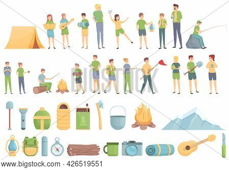 Camping Trip With Kids Icons Set Cartoon Vector. Kid Camp Boy. Scout Travel