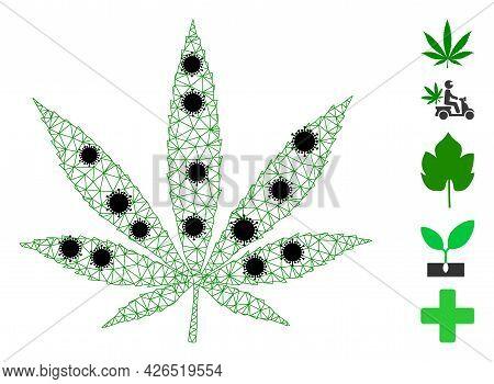 Mesh Cannabis Polygonal Icon Vector Illustration, With Black Coronavirus Items. Model Is Based On Ca