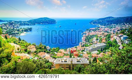 Colorful Coast And Turquiose Water With Houses And Ships, Panorama Of Cote Dazur Provence, France