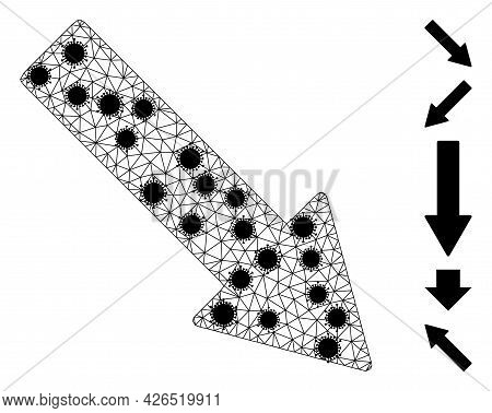 Mesh Right Down Arrow Polygonal Icon Vector Illustration, With Black Infectious Centers. Carcass Mod