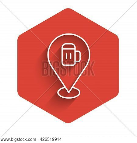 White Line Alcohol Or Beer Bar Location Icon Isolated With Long Shadow. Symbol Of Drinking, Pub, Clu