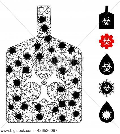 Mesh Biohazard Bottle Polygonal Icon Vector Illustration, With Black Infectious Nodes. Abstraction I