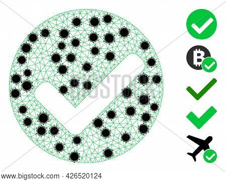 Mesh Yes Mark Polygonal Icon Vector Illustration, With Black Infection Items. Carcass Model Is Creat