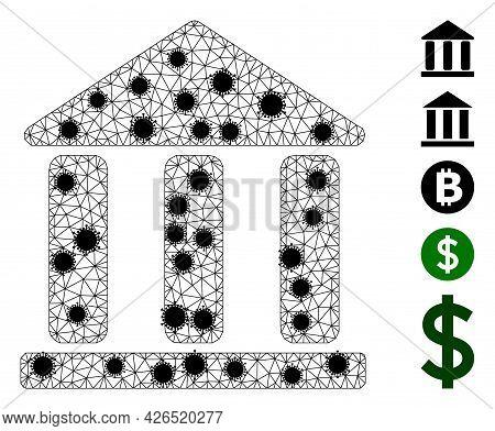 Mesh Library Building Polygonal Icon Vector Illustration, With Black Coronavirus Centers. Model Is B