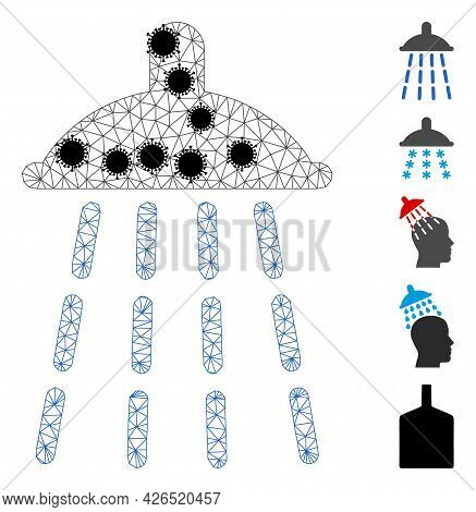 Mesh Water Shower Polygonal Icon Vector Illustration, With Black Infection Centers. Carcass Model Is