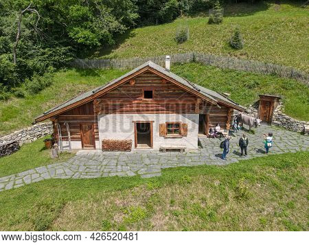 Drone View At The Alp Chalet Of Heidi Village Over Maienfeld In The Swiss Alps