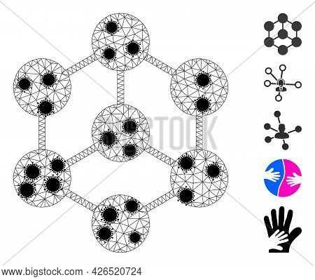 Mesh Blockchain Nodes Polygonal Icon Vector Illustration, With Black Infection Elements. Model Is Cr