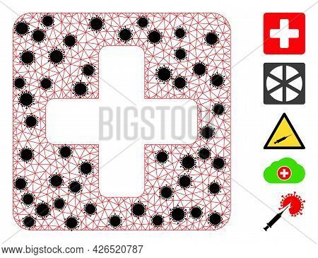 Mesh Medical Box Polygonal Icon Vector Illustration, With Black Covid Nodes. Carcass Model Is Create