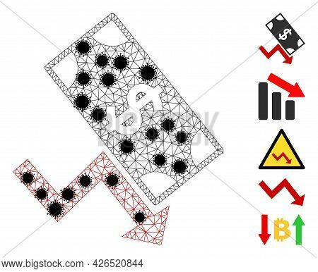 Mesh Dollar Down Trend Polygonal 2d Vector Illustration, With Black Virus Elements. Model Is Created