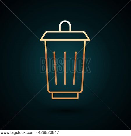 Gold Line Trash Can Icon Isolated On Dark Blue Background. Garbage Bin Sign. Recycle Basket Icon. Of