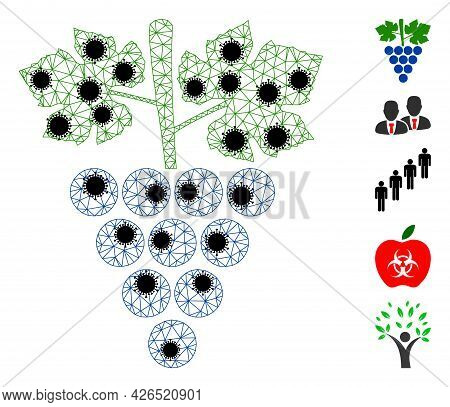 Mesh Grapes Bunch Polygonal Icon Vector Illustration, With Black Infectious Items. Carcass Model Is