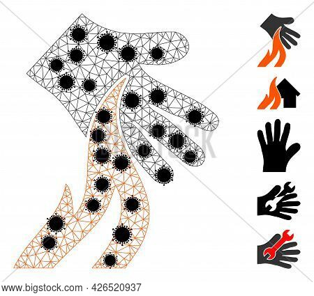 Mesh Burn Hand Polygonal Icon Vector Illustration, With Black Virus Centers. Carcass Model Is Based