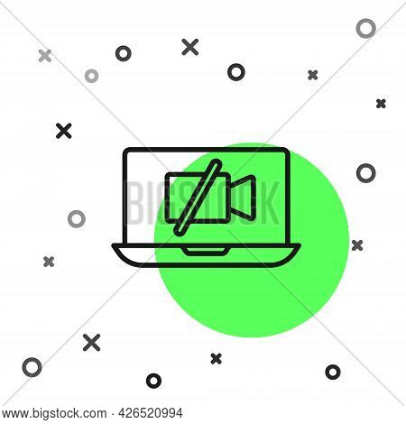 Black Line Video Camera Off On Laptop Screen Icon Isolated On White Background. No Video. Vector