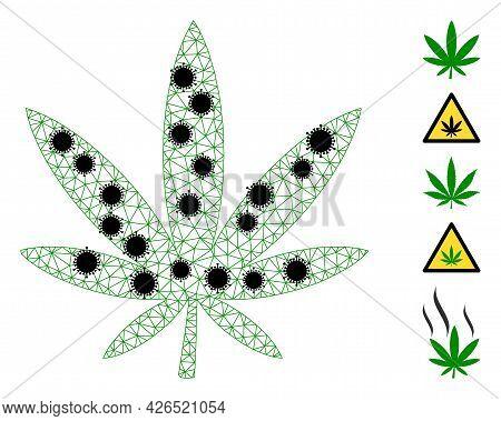 Mesh Marijuana Polygonal Symbol Vector Illustration, With Black Infection Elements. Model Is Based O