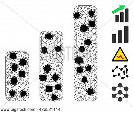 Mesh Up Trend Bar Chart Polygonal Icon Vector Illustration, With Black Infection Elements. Abstracti