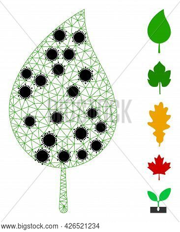 Mesh Floral Leaf Polygonal Icon Vector Illustration, With Black Covid Items. Carcass Model Is Create