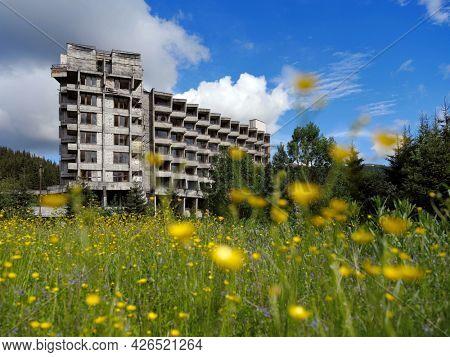 VIDRA RESORT, ROMANIA, 4 JULY, 2021 - Image of an abandonned hotel in Vidra resort, Romania, Europe
