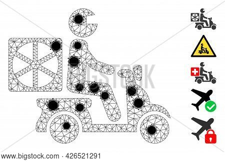 Mesh Pizza Motorbike Delivery Polygonal Icon Vector Illustration, With Black Infection Items. Carcas