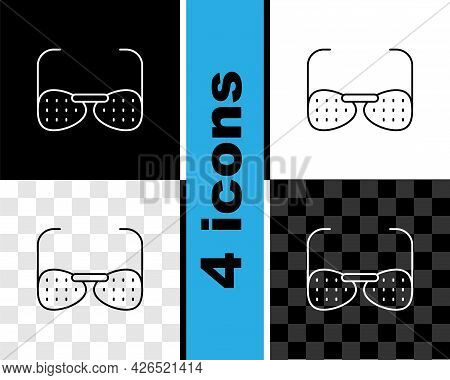 Set Line Glasses For The Blind And Visually Impaired Icon Isolated On Black And White, Transparent B