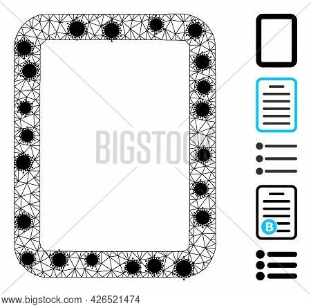 Mesh Empty Page Polygonal 2d Vector Illustration, With Black Infection Elements. Carcass Model Is Ba