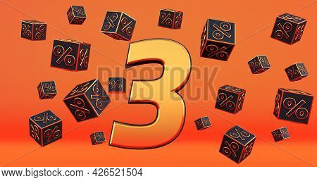 Gold Three 3 Percent Number With Black Cubes  Percentages Fly On A Orange Background. 3d Render