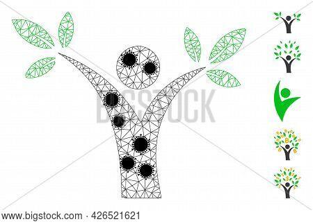 Mesh Tree Man Polygonal 2d Vector Illustration, With Black Coronavirus Centers. Model Is Created Fro