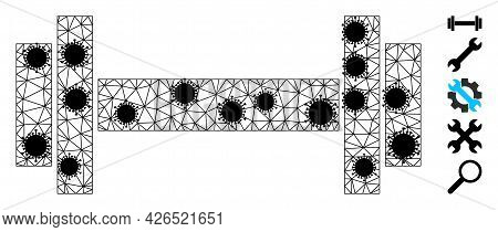Mesh Barbell Polygonal Symbol Vector Illustration, With Black Virus Nodes. Abstraction Is Based On B