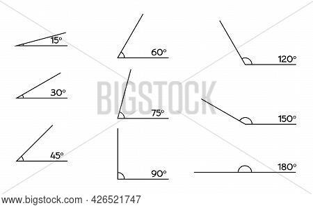 Various Obtuse And Acute Angles. Different Corners Isolated On White. Geometric Elements Vector Illu