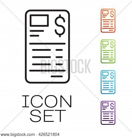 Black Line Paper Or Financial Check Icon Isolated On White Background. Paper Print Check, Shop Recei