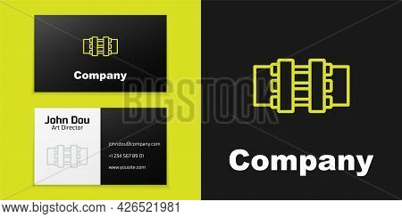 Logotype Line Industry Metallic Pipes And Valve Icon Isolated On Black Background. Logo Design Templ