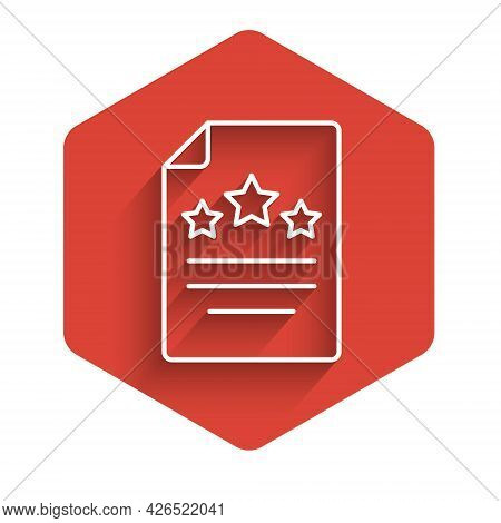White Line Declaration Of Independence Icon Isolated With Long Shadow Background. Red Hexagon Button