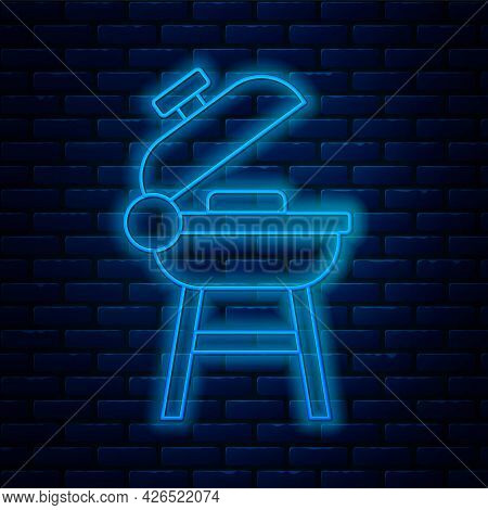 Glowing Neon Line Barbecue Grill Icon Isolated On Brick Wall Background. Bbq Grill Party. Vector