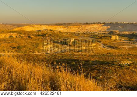 Sunset View Of Landscape And Old Quarries, In Migdal Tsedek National Park, Central Israel
