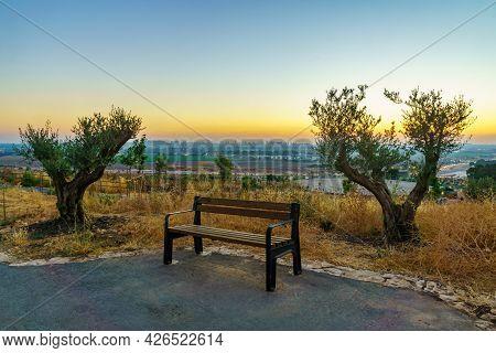 Sunset View From The Trail Towards Gush Dan (the Urban Area Of Petah Tikva And Tel-aviv), In Migdal
