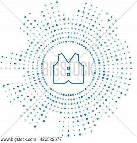 Blue Line Waistcoat Icon Isolated On White Background. Classic Vest. Formal Wear For Men. Abstract C