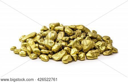 Royal Gold Nuggets Heaped On Isolated White Background, Rare Stones Mining Concept